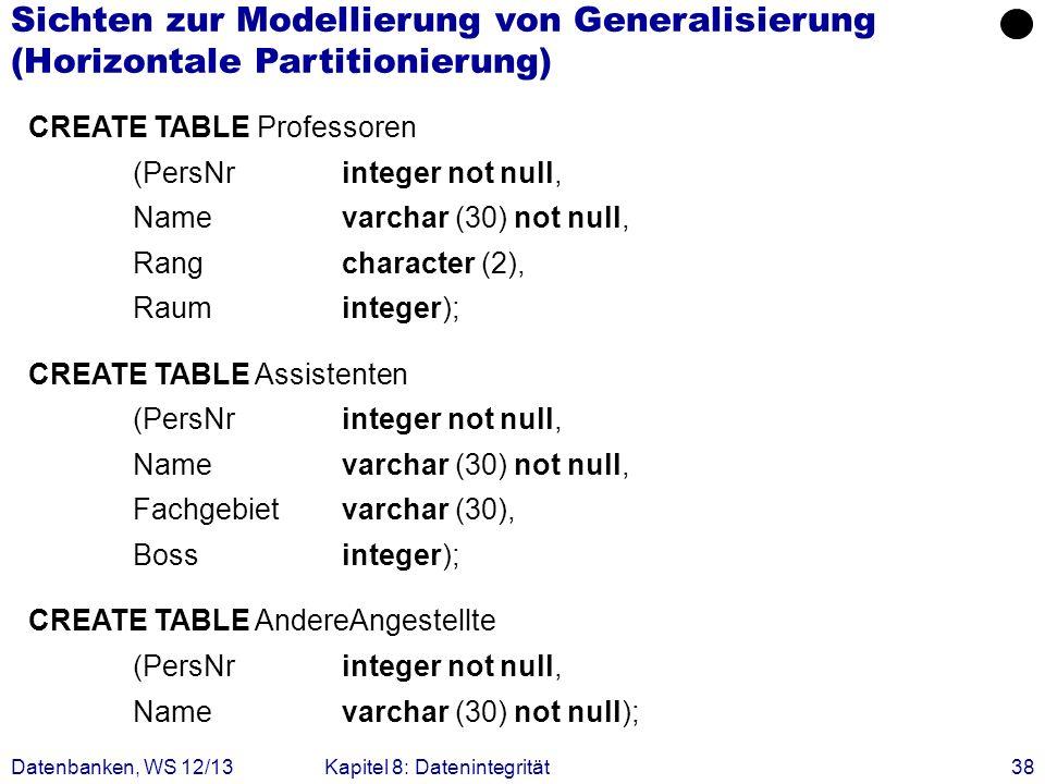 Datenbanken, WS 12/13Kapitel 8: Datenintegrität38 CREATE TABLE Professoren (PersNrinteger not null, Name varchar (30) not null, Rangcharacter (2), Rau