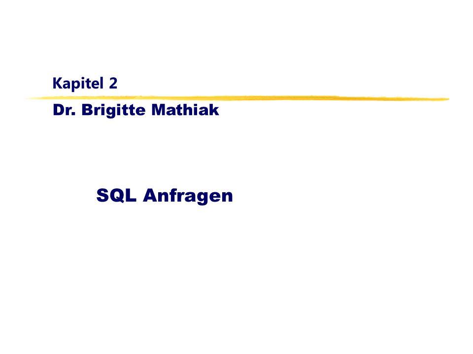 Datenbanken, WS 12/13 Kapitel 2: SQL Anfragen42 SELECT s.MatrNr FROM Studenten s WHERE NOT EXISTS (SELECT * FROM Vorlesungen v WHERE v.SWS = 4 AND NOT EXISTS (SELECT * FROM hören h WHERE h.VorlNr = v.VorlNr AND h.MatrNr=s.MatrNr ) ); Umsetzung der Logik in SQL Anfrage: Wer hat alle vierstündigen Vorlesungen gehört?
