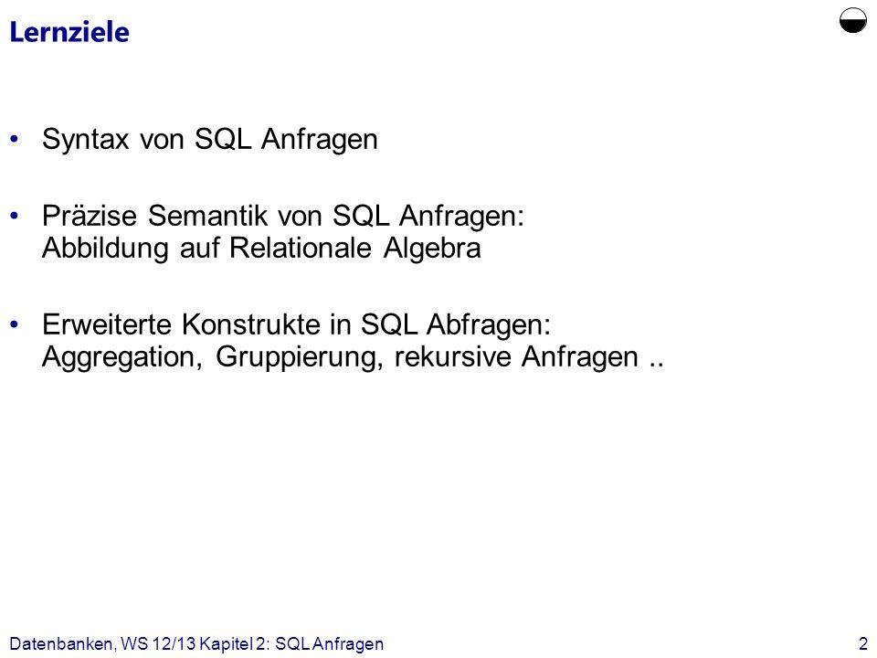 Datenbanken, WS 12/13 Kapitel 2: SQL Anfragen43 SELECT s.MatrNr FROM Studenten s WHERE NOT EXISTS ( SELECT v.VorlNr FROM Vorlesungen v WHERE v.SWS = 4 MINUS SELECT h.VorlNr FROM hören h WHERE h.MatrNr = s.MatrNr ) ; Simulation allquantifizierter Suchprädikate: alternative Form mit Mengenoperation Anfrage: Wer hat alle vierstündigen Vorlesungen gehört.