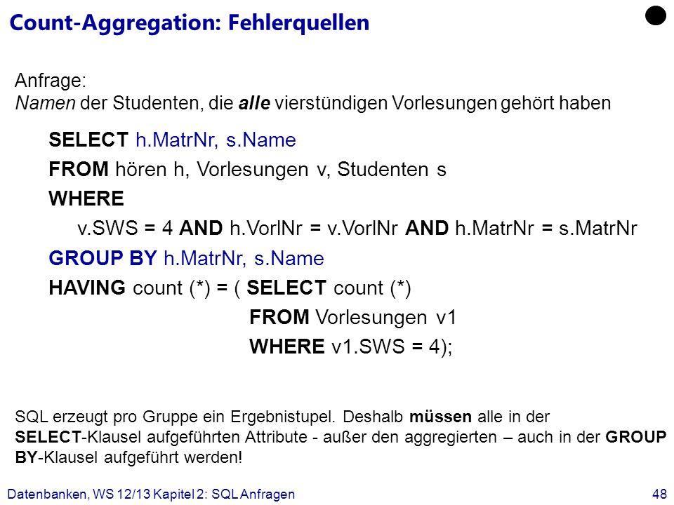 Datenbanken, WS 12/13 Kapitel 2: SQL Anfragen48 Count-Aggregation: Fehlerquellen SELECT h.MatrNr, s.Name FROM hören h, Vorlesungen v, Studenten s WHER