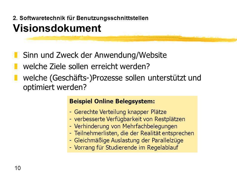 10 2. Softwaretechnik für Benutzungsschnittstellen Visionsdokument zSinn und Zweck der Anwendung/Website zwelche Ziele sollen erreicht werden? zwelche