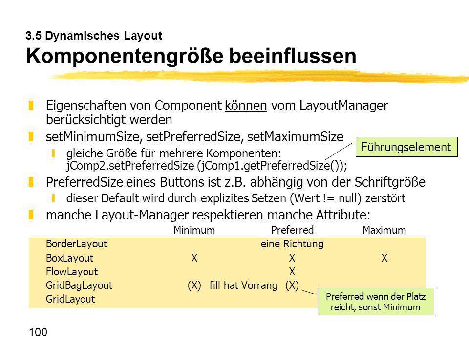 100 3.5 Dynamisches Layout Komponentengröße beeinflussen zEigenschaften von Component können vom LayoutManager berücksichtigt werden zsetMinimumSize,