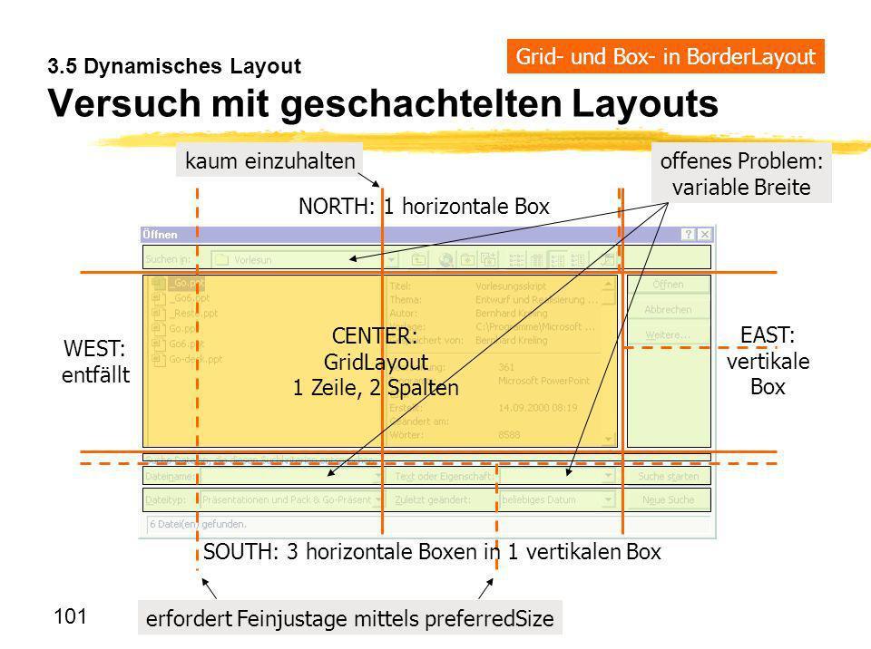 101 3.5 Dynamisches Layout Versuch mit geschachtelten Layouts SOUTH: 3 horizontale Boxen in 1 vertikalen Box NORTH: 1 horizontale Box EAST: vertikale
