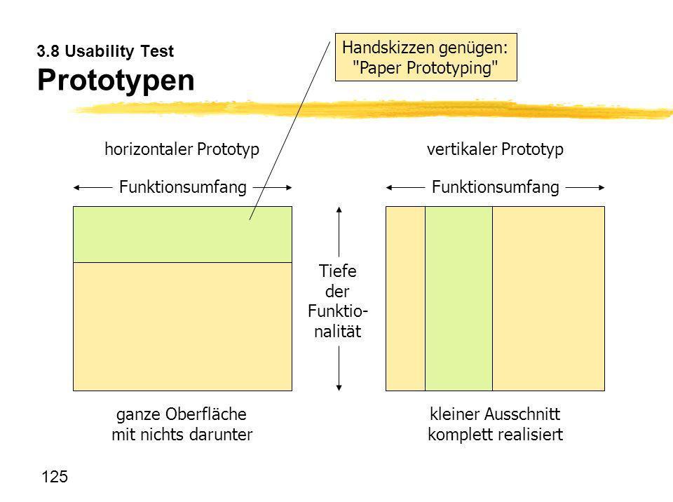 125 3.8 Usability Test Prototypen Tiefe der Funktio- nalität Funktionsumfang horizontaler Prototyp Funktionsumfang vertikaler Prototyp ganze Oberfläch
