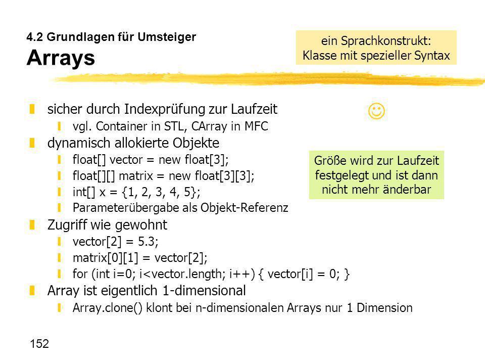 152 4.2 Grundlagen für Umsteiger Arrays zsicher durch Indexprüfung zur Laufzeit yvgl. Container in STL, CArray in MFC zdynamisch allokierte Objekte yf