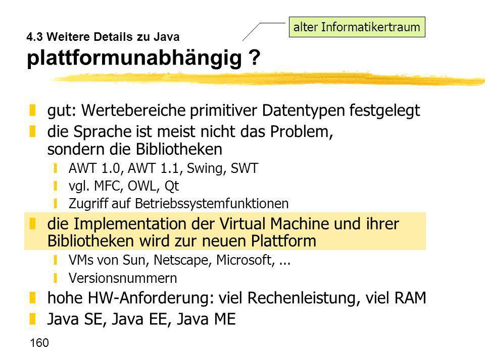 160 4.3 Weitere Details zu Java plattformunabhängig ? zgut: Wertebereiche primitiver Datentypen festgelegt zdie Sprache ist meist nicht das Problem, s
