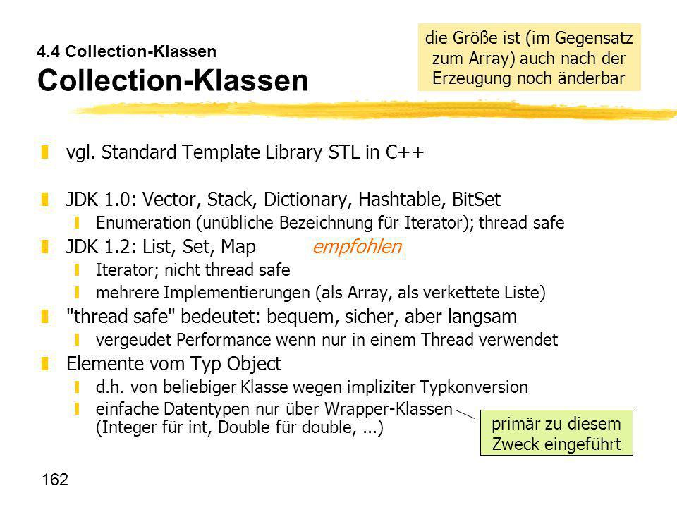 162 4.4 Collection-Klassen Collection-Klassen zvgl. Standard Template Library STL in C++ zJDK 1.0: Vector, Stack, Dictionary, Hashtable, BitSet yEnume