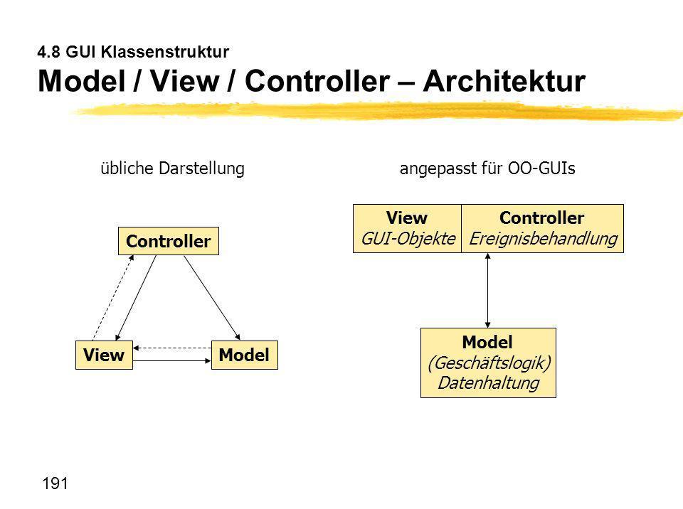 191 4.8 GUI Klassenstruktur Model / View / Controller – Architektur View Controller Model View GUI-Objekte Controller Ereignisbehandlung Model (Geschä