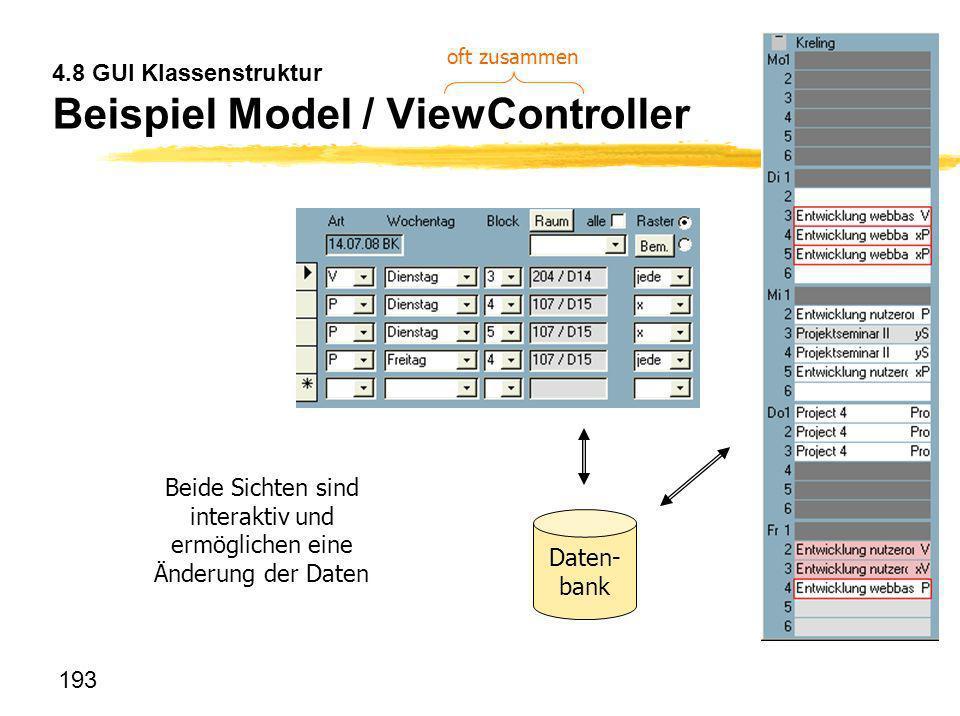 193 4.8 GUI Klassenstruktur Beispiel Model / ViewController Beide Sichten sind interaktiv und ermöglichen eine Änderung der Daten Daten- bank oft zusa