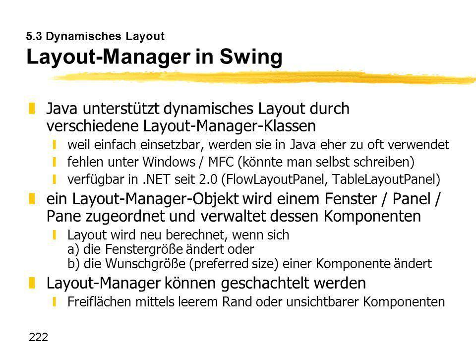 222 5.3 Dynamisches Layout Layout-Manager in Swing zJava unterstützt dynamisches Layout durch verschiedene Layout-Manager-Klassen yweil einfach einset