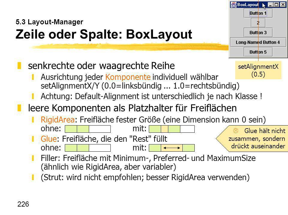 226 5.3 Layout-Manager Zeile oder Spalte: BoxLayout zsenkrechte oder waagrechte Reihe yAusrichtung jeder Komponente individuell wählbar setAlignmentX/