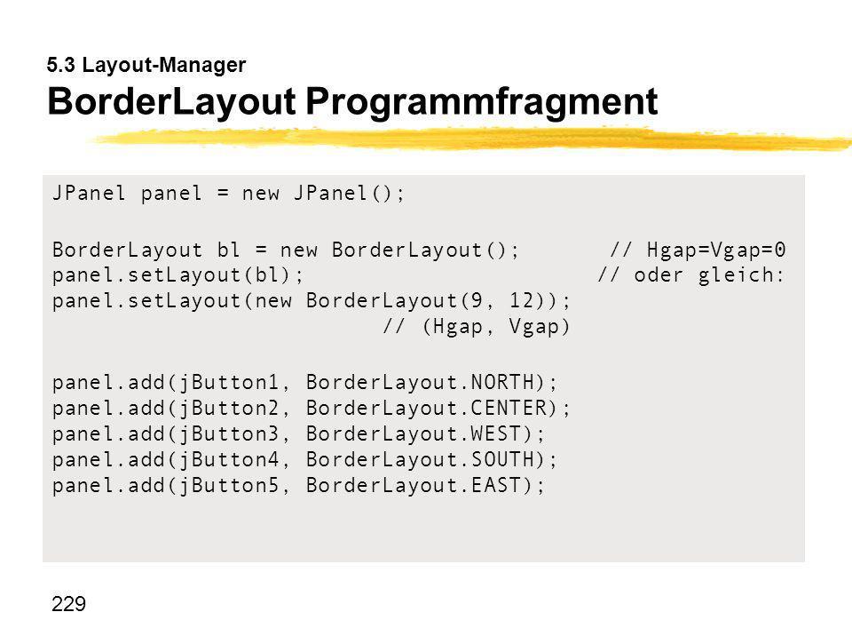 229 5.3 Layout-Manager BorderLayout Programmfragment JPanel panel = new JPanel(); BorderLayout bl = new BorderLayout();// Hgap=Vgap=0 panel.setLayout(