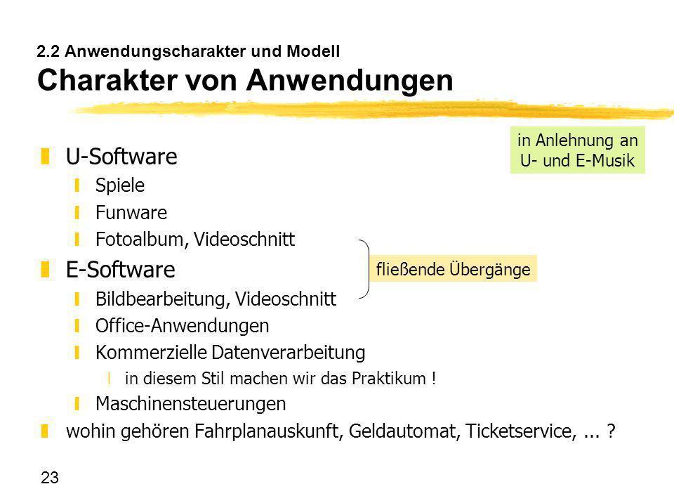 23 2.2 Anwendungscharakter und Modell Charakter von Anwendungen zU-Software ySpiele yFunware yFotoalbum, Videoschnitt zE-Software yBildbearbeitung, Vi