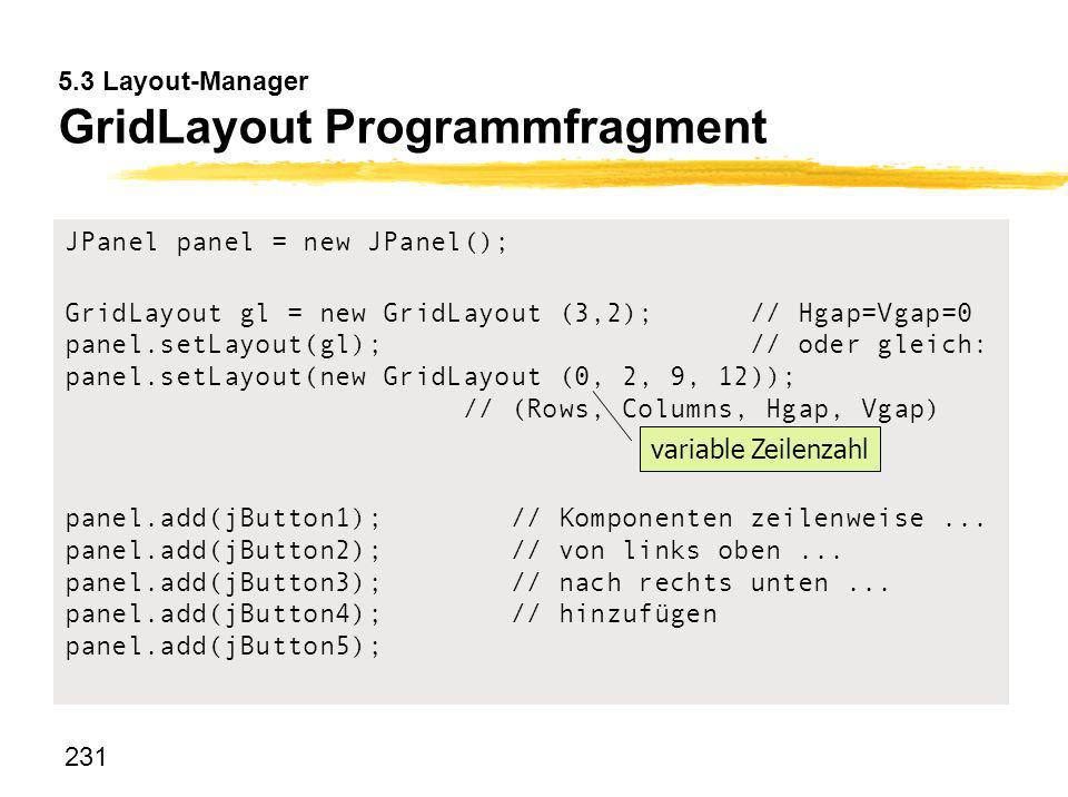 231 5.3 Layout-Manager GridLayout Programmfragment JPanel panel = new JPanel(); GridLayout gl = new GridLayout (3,2); // Hgap=Vgap=0 panel.setLayout(g