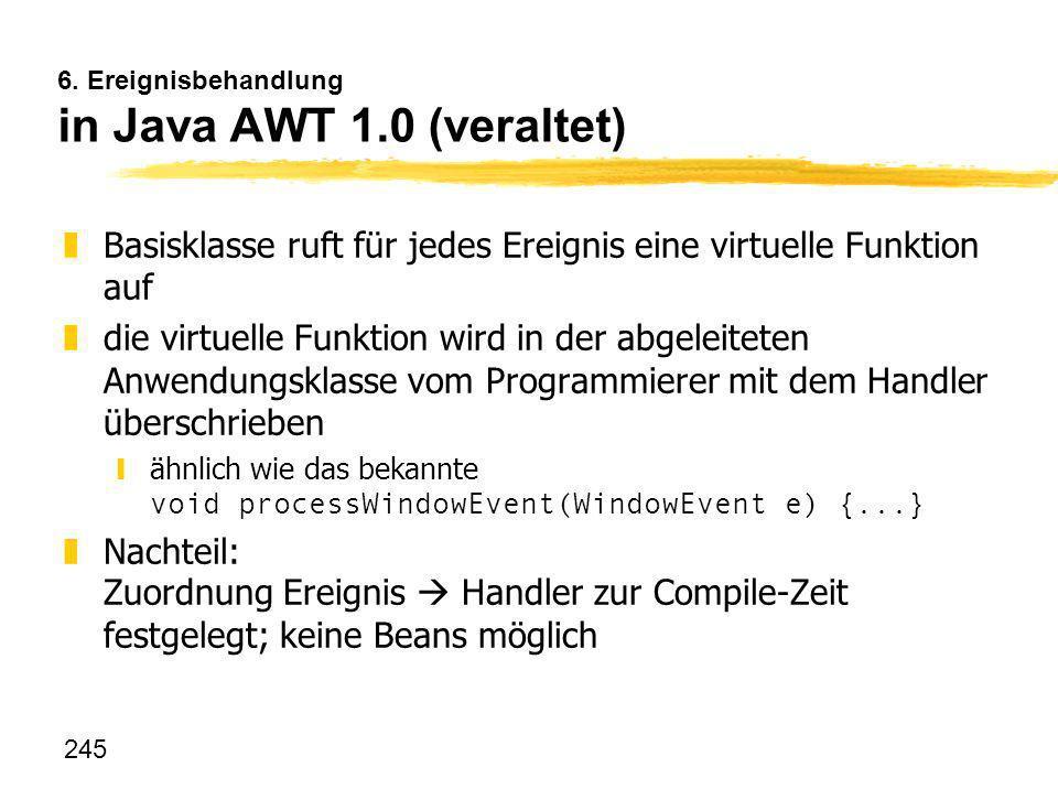 245 6. Ereignisbehandlung in Java AWT 1.0 (veraltet) zBasisklasse ruft für jedes Ereignis eine virtuelle Funktion auf zdie virtuelle Funktion wird in