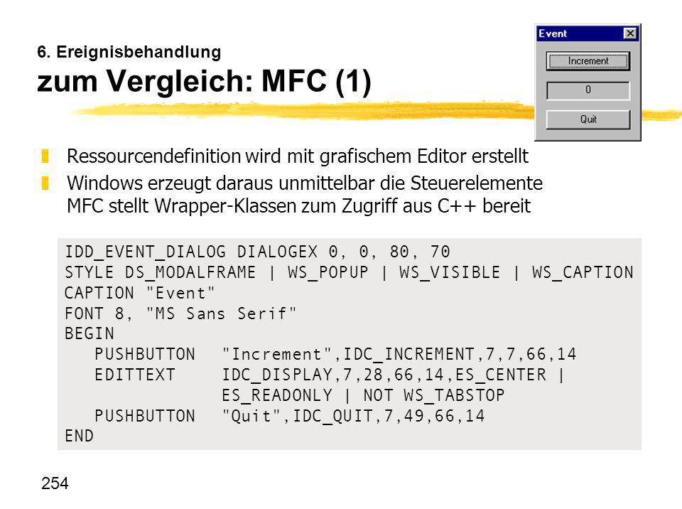 254 6. Ereignisbehandlung zum Vergleich: MFC (1) IDD_EVENT_DIALOG DIALOGEX 0, 0, 80, 70 STYLE DS_MODALFRAME   WS_POPUP   WS_VISIBLE   WS_CAPTION CAPTI