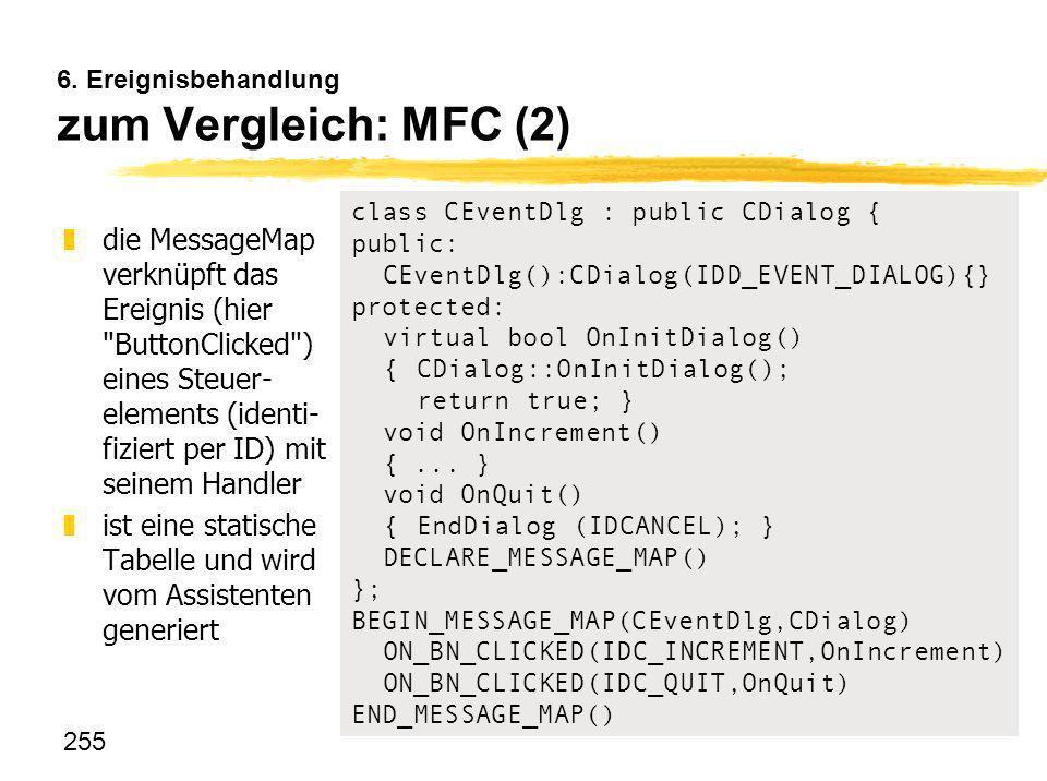 255 6. Ereignisbehandlung zum Vergleich: MFC (2) zdie MessageMap verknüpft das Ereignis (hier