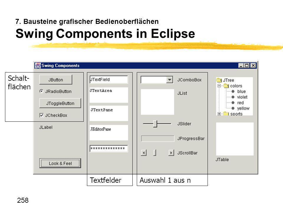 258 7. Bausteine grafischer Bedienoberflächen Swing Components in Eclipse Schalt- flächen TextfelderAuswahl 1 aus n