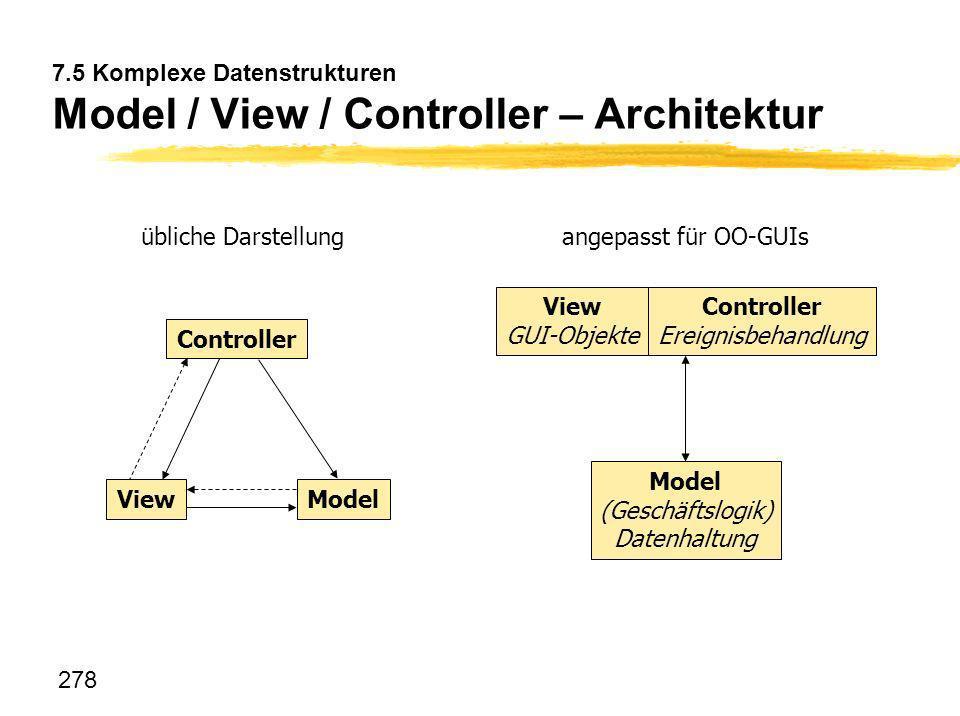 278 7.5 Komplexe Datenstrukturen Model / View / Controller – Architektur View Controller Model View GUI-Objekte Controller Ereignisbehandlung Model (G