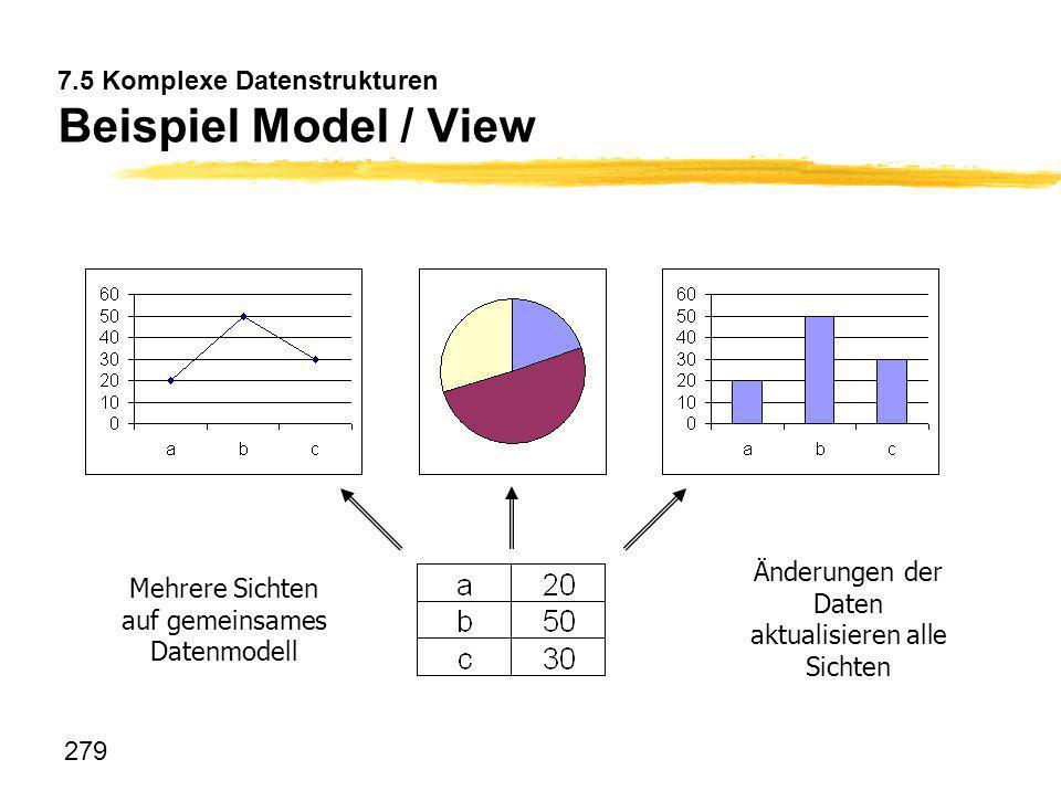 279 7.5 Komplexe Datenstrukturen Beispiel Model / View Mehrere Sichten auf gemeinsames Datenmodell Änderungen der Daten aktualisieren alle Sichten
