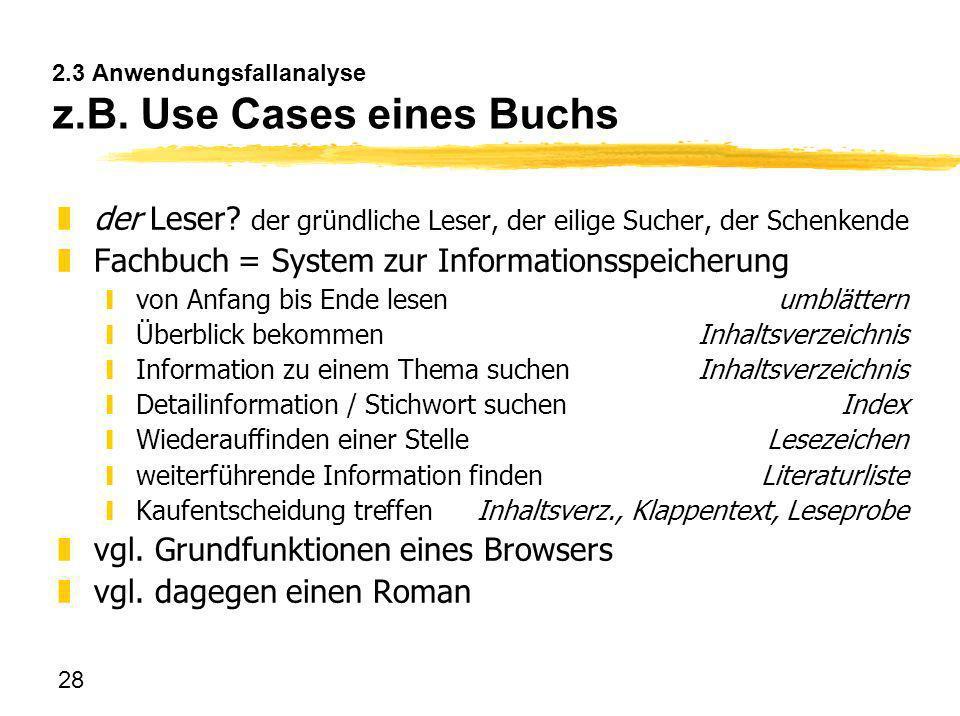 28 2.3 Anwendungsfallanalyse z.B. Use Cases eines Buchs zder Leser? der gründliche Leser, der eilige Sucher, der Schenkende zFachbuch = System zur Inf