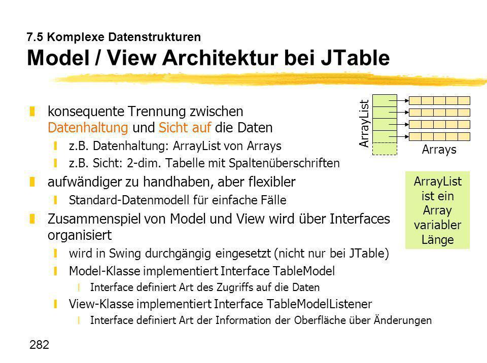 282 7.5 Komplexe Datenstrukturen Model / View Architektur bei JTable zkonsequente Trennung zwischen Datenhaltung und Sicht auf die Daten yz.B. Datenha