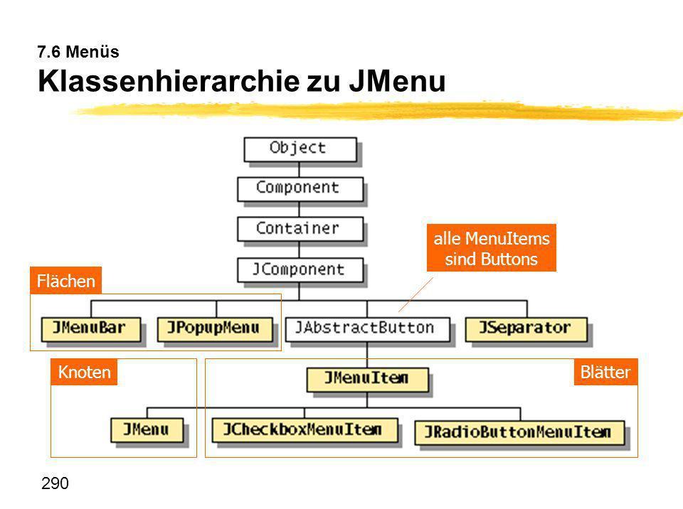 290 7.6 Menüs Klassenhierarchie zu JMenu BlätterKnoten Flächen alle MenuItems sind Buttons