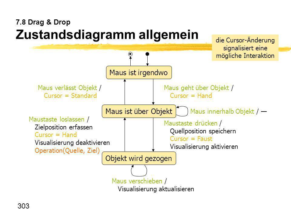 303 7.8 Drag & Drop Zustandsdiagramm allgemein Objekt wird gezogen Maus ist irgendwo Maustaste drücken / Quellposition speichern Cursor = Faust Visual
