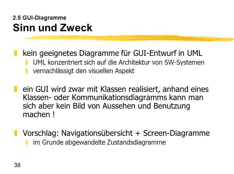 38 2.5 GUI-Diagramme Sinn und Zweck zkein geeignetes Diagramme für GUI-Entwurf in UML yUML konzentriert sich auf die Architektur von SW-Systemen yvern
