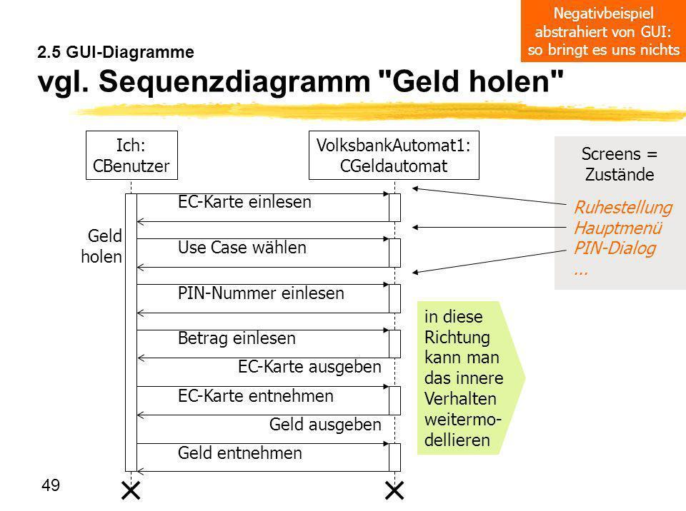49 2.5 GUI-Diagramme vgl. Sequenzdiagramm