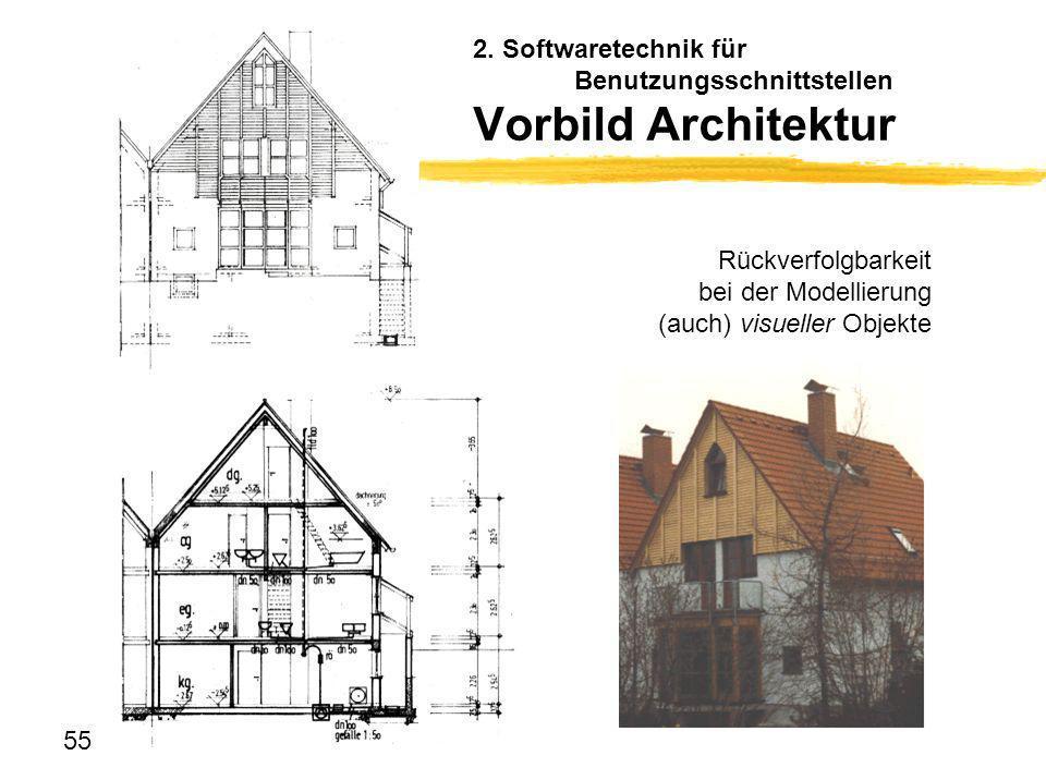 55 2. Softwaretechnik für Benutzungsschnittstellen Vorbild Architektur Rückverfolgbarkeit bei der Modellierung (auch) visueller Objekte