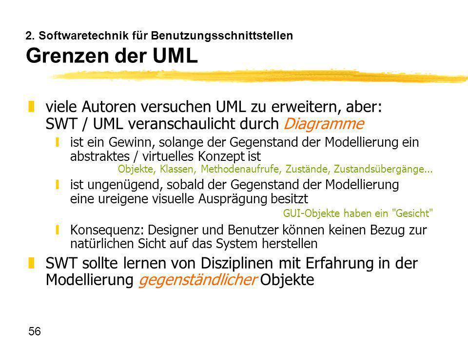 56 2. Softwaretechnik für Benutzungsschnittstellen Grenzen der UML zviele Autoren versuchen UML zu erweitern, aber: SWT / UML veranschaulicht durch Di