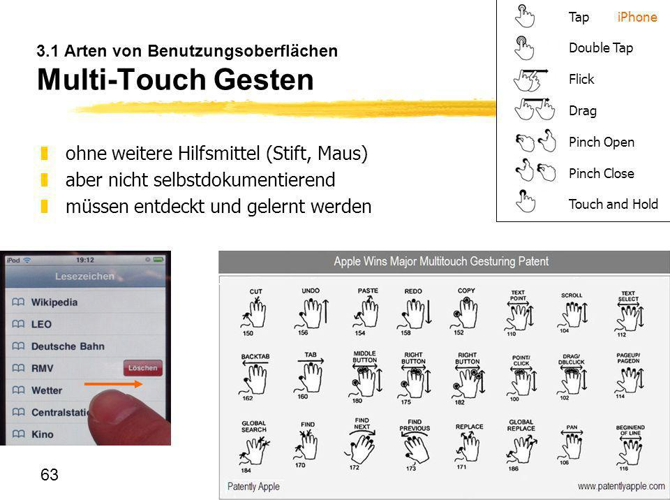 63 3.1 Arten von Benutzungsoberflächen Multi-Touch Gesten zohne weitere Hilfsmittel (Stift, Maus) zaber nicht selbstdokumentierend zmüssen entdeckt un