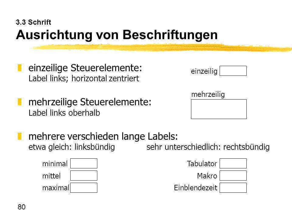 80 3.3 Schrift Ausrichtung von Beschriftungen zeinzeilige Steuerelemente: Label links; horizontal zentriert zmehrzeilige Steuerelemente: Label links o