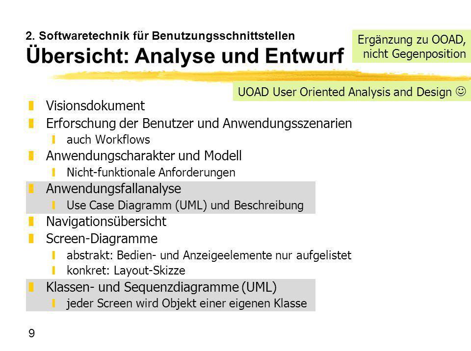 9 2. Softwaretechnik für Benutzungsschnittstellen Übersicht: Analyse und Entwurf zVisionsdokument zErforschung der Benutzer und Anwendungsszenarien ya