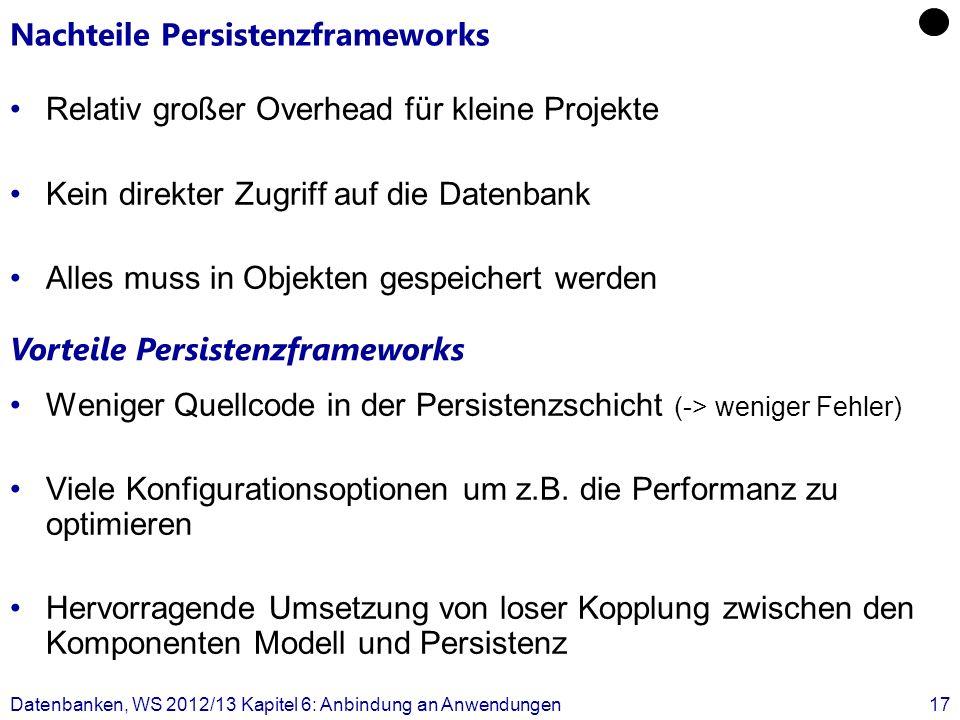 Nachteile Persistenzframeworks Relativ großer Overhead für kleine Projekte Kein direkter Zugriff auf die Datenbank Alles muss in Objekten gespeichert werden Weniger Quellcode in der Persistenzschicht (-> weniger Fehler) Viele Konfigurationsoptionen um z.B.
