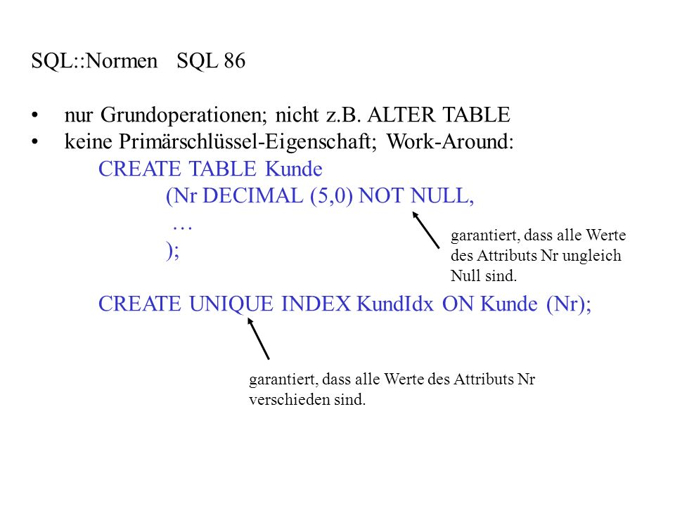 SQL::Normen SQL 86 nur Grundoperationen; nicht z.B. ALTER TABLE keine Primärschlüssel-Eigenschaft; Work-Around: CREATE TABLE Kunde (Nr DECIMAL (5,0) N