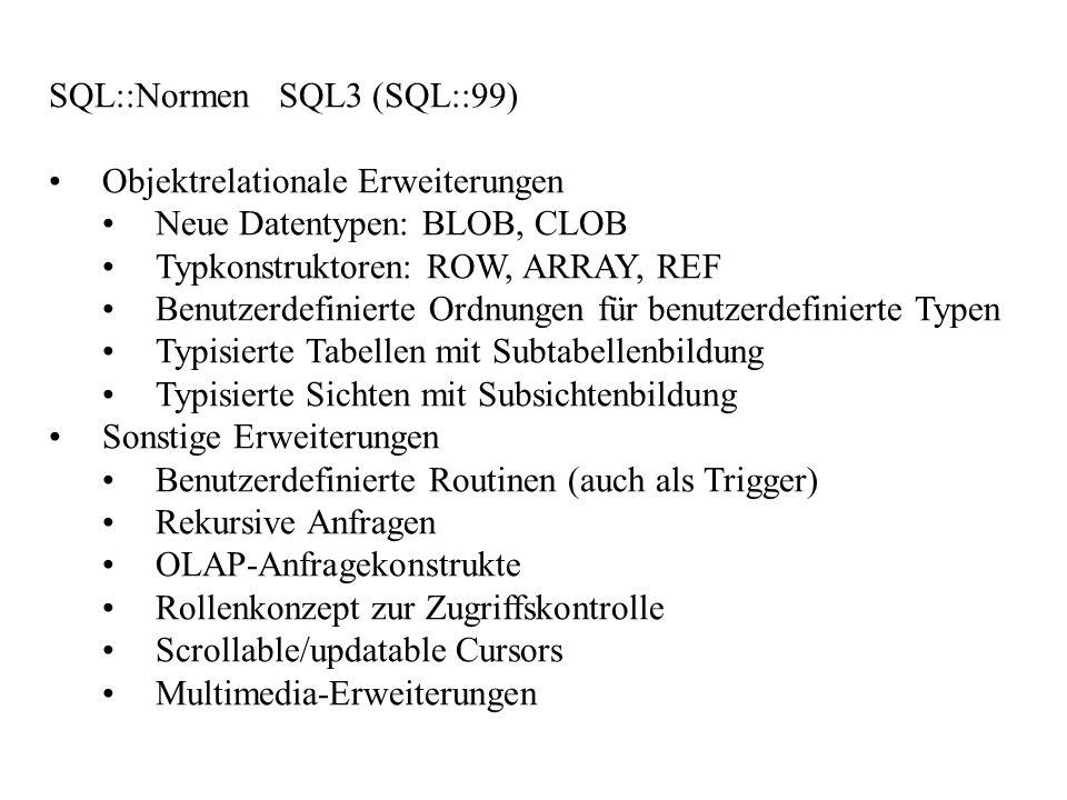 SQL::Normen SQL3 (SQL::99) Objektrelationale Erweiterungen Neue Datentypen: BLOB, CLOB Typkonstruktoren: ROW, ARRAY, REF Benutzerdefinierte Ordnungen