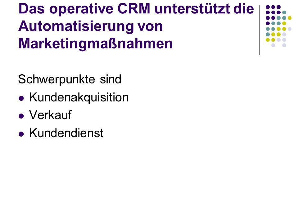 Das operative CRM unterstützt die Automatisierung von Marketingmaßnahmen Schwerpunkte sind Kundenakquisition Verkauf Kundendienst