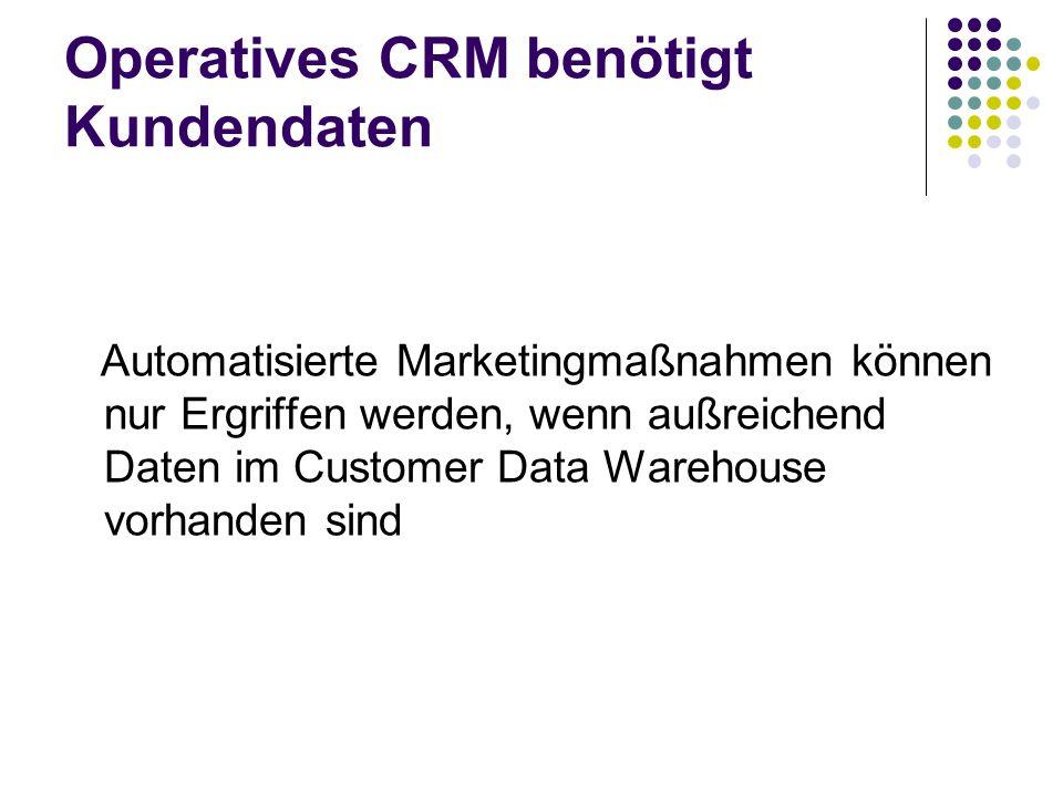 Operatives CRM benötigt Kundendaten Automatisierte Marketingmaßnahmen können nur Ergriffen werden, wenn außreichend Daten im Customer Data Warehouse v