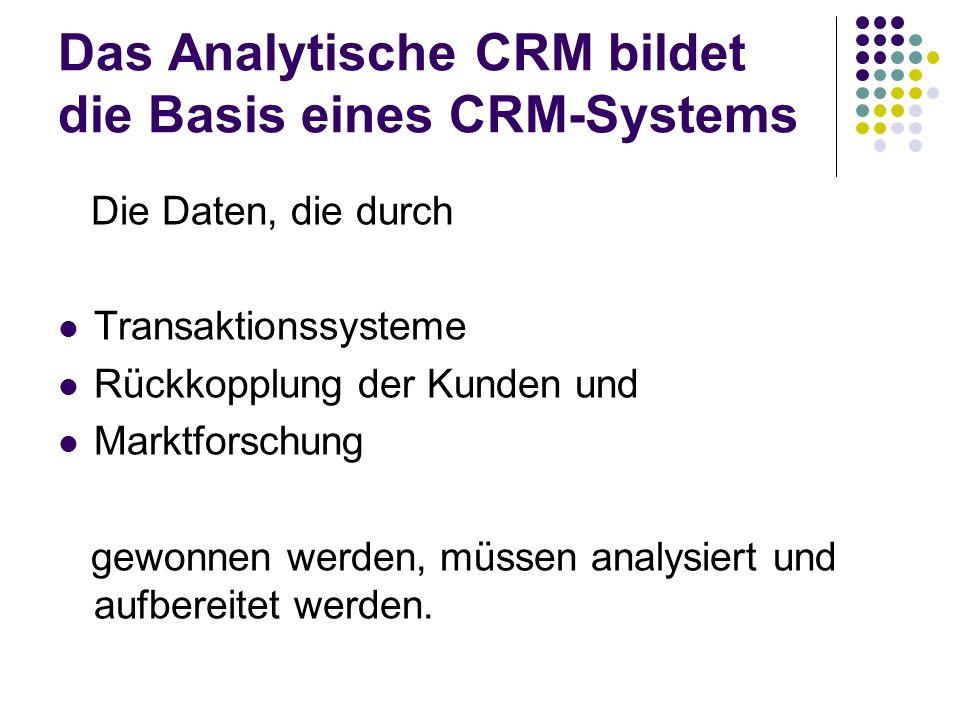 Das Analytische CRM bildet die Basis eines CRM-Systems Die Daten, die durch Transaktionssysteme Rückkopplung der Kunden und Marktforschung gewonnen we