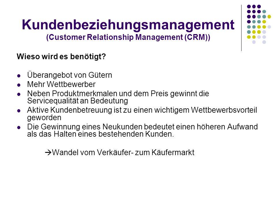 Kundenbeziehungsmanagement (Customer Relationship Management (CRM)) Wieso wird es benötigt? Überangebot von Gütern Mehr Wettbewerber Neben Produktmerk
