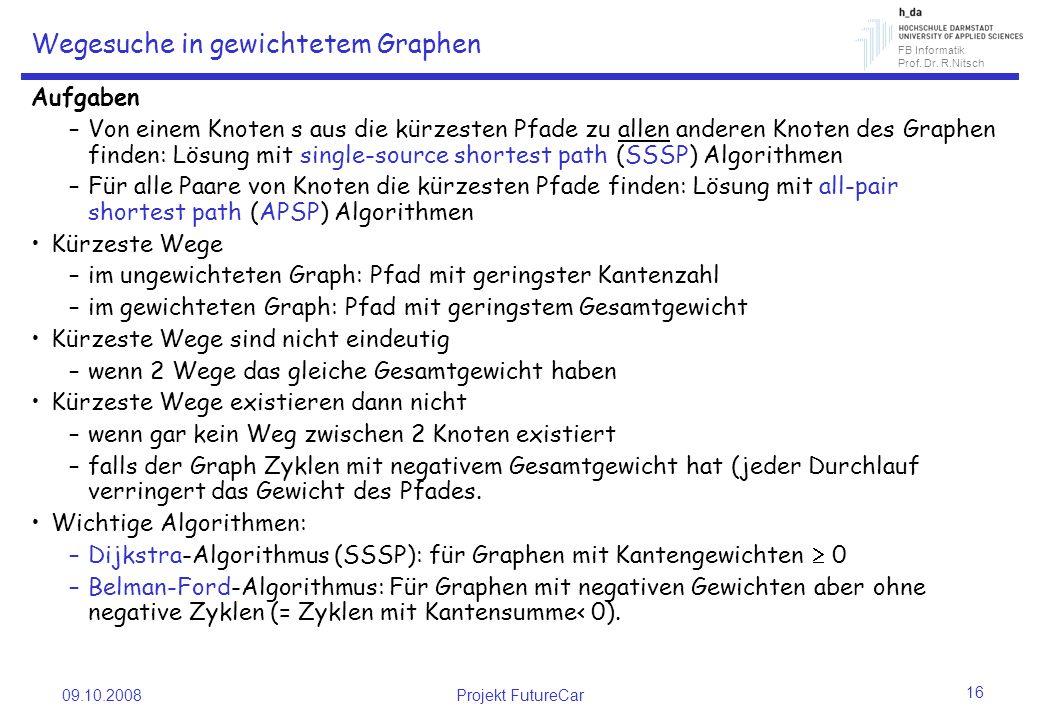 FB Informatik Prof. Dr. R.Nitsch 09.10.2008Projekt FutureCar 16 Wegesuche in gewichtetem Graphen Aufgaben –Von einem Knoten s aus die kürzesten Pfade
