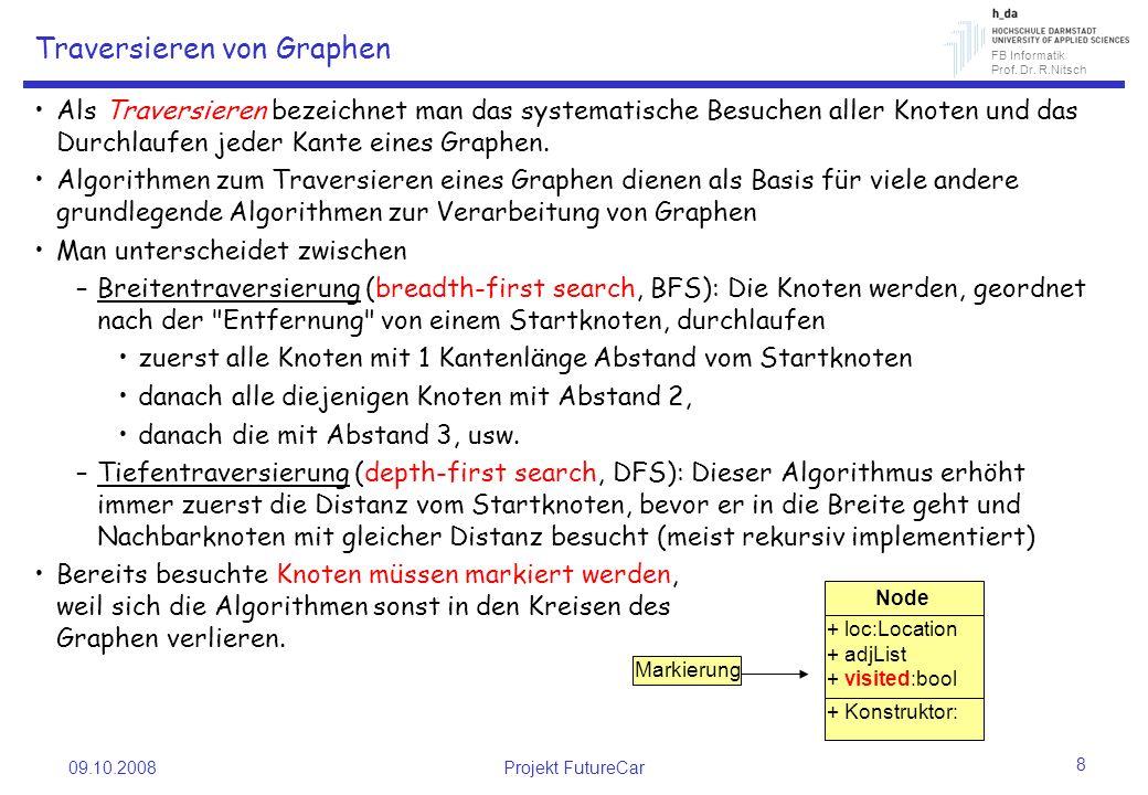 FB Informatik Prof. Dr. R.Nitsch 09.10.2008Projekt FutureCar 8 Traversieren von Graphen Als Traversieren bezeichnet man das systematische Besuchen all