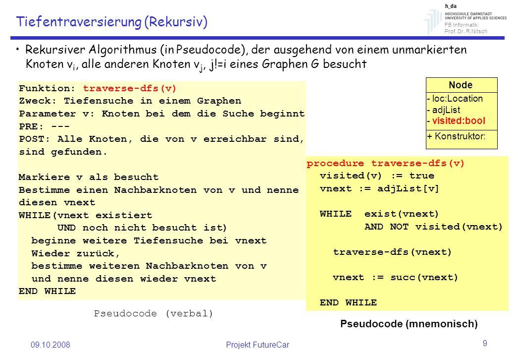 FB Informatik Prof. Dr. R.Nitsch 09.10.2008Projekt FutureCar 9 Tiefentraversierung (Rekursiv) Rekursiver Algorithmus (in Pseudocode), der ausgehend vo