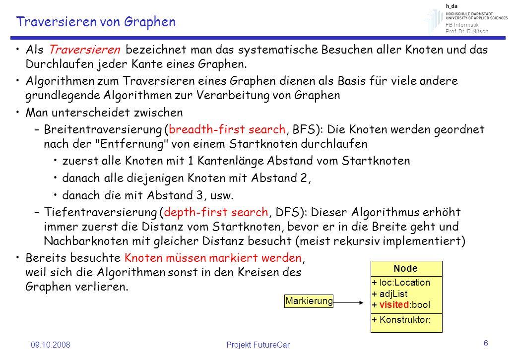 FB Informatik Prof. Dr. R.Nitsch 09.10.2008Projekt FutureCar 6 Traversieren von Graphen Als Traversieren bezeichnet man das systematische Besuchen all