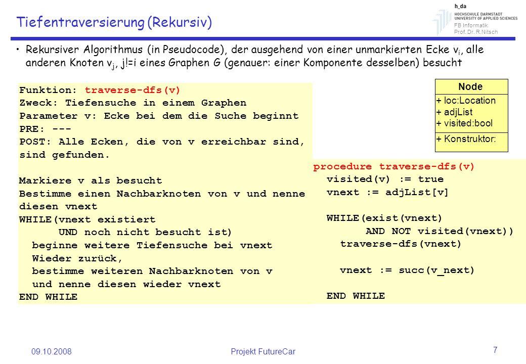 FB Informatik Prof. Dr. R.Nitsch 09.10.2008Projekt FutureCar 7 Tiefentraversierung (Rekursiv) Rekursiver Algorithmus (in Pseudocode), der ausgehend vo