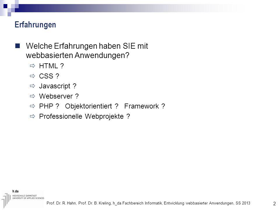 2 Prof. Dr. R. Hahn, Prof. Dr. B. Kreling, h_da Fachbereich Informatik, Entwicklung webbasierter Anwendungen, SS 2013 Erfahrungen Welche Erfahrungen h