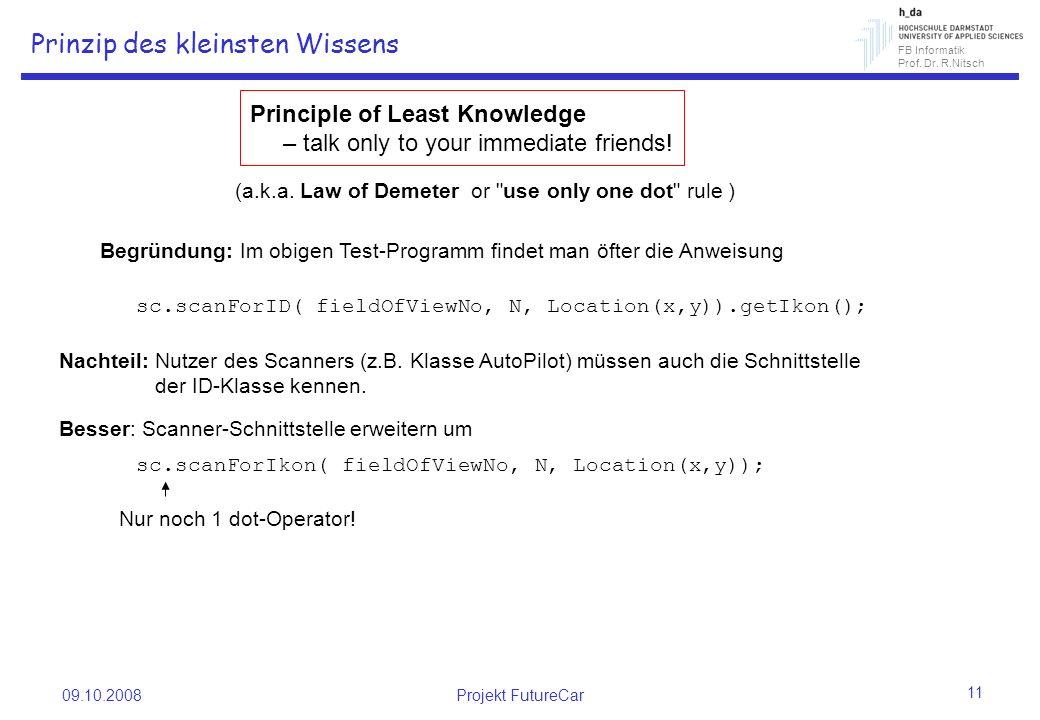 FB Informatik Prof. Dr. R.Nitsch 09.10.2008Projekt FutureCar 11 Prinzip des kleinsten Wissens Principle of Least Knowledge – talk only to your immedia