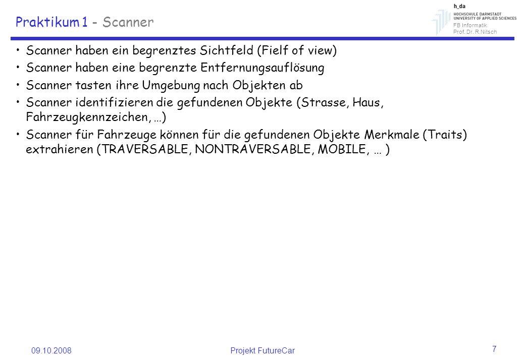 FB Informatik Prof. Dr. R.Nitsch 09.10.2008Projekt FutureCar 7 Praktikum 1 - Scanner Scanner haben ein begrenztes Sichtfeld (Fielf of view) Scanner ha